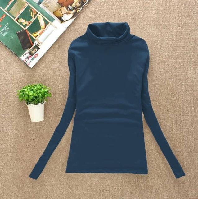 High Elastic Quality Autumn Winter Sweater Women Wool Turtleneck Pullovers Long-Sweaters-Fall In Love-W00869 jean blue-EpicWorldStore.com