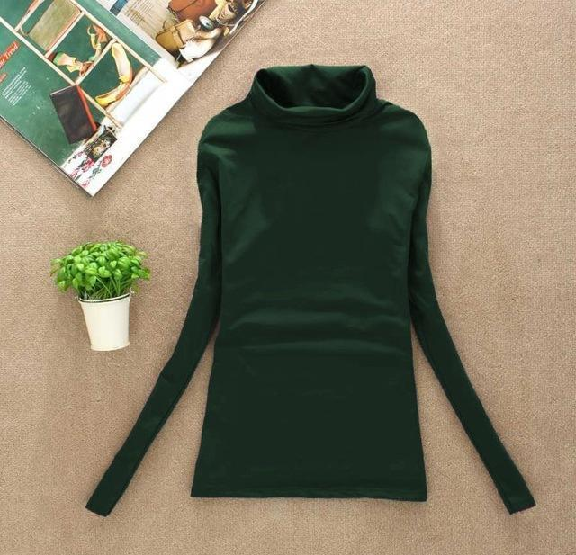 High Elastic Quality Autumn Winter Sweater Women Wool Turtleneck Pullovers Long-Sweaters-Fall In Love-W00869 mo green-EpicWorldStore.com