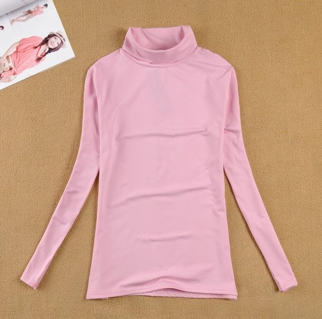 High Elastic Quality Autumn Winter Sweater Women Wool Turtleneck Pullovers Long-Sweaters-Fall In Love-W00869 pink-EpicWorldStore.com