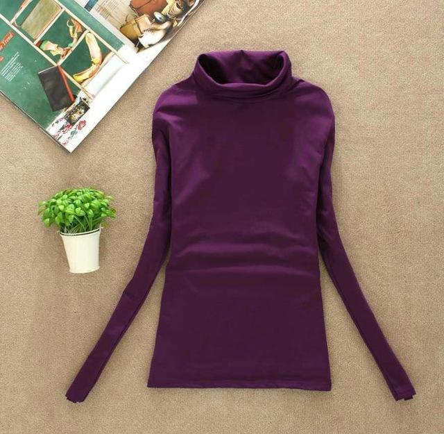 High Elastic Quality Autumn Winter Sweater Women Wool Turtleneck Pullovers Long-Sweaters-Fall In Love-W00869 purple-EpicWorldStore.com