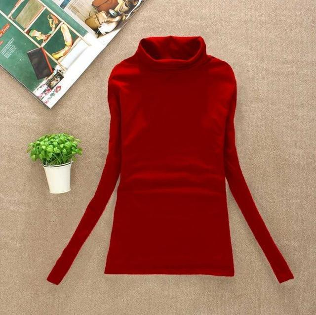 High Elastic Quality Autumn Winter Sweater Women Wool Turtleneck Pullovers Long-Sweaters-Fall In Love-W00869 red-EpicWorldStore.com