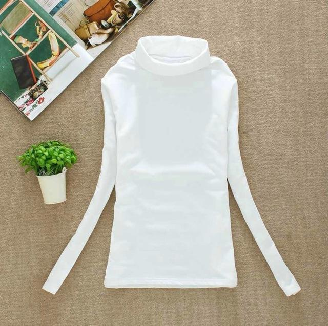 High Elastic Quality Autumn Winter Sweater Women Wool Turtleneck Pullovers Long-Sweaters-Fall In Love-W00869 white-EpicWorldStore.com