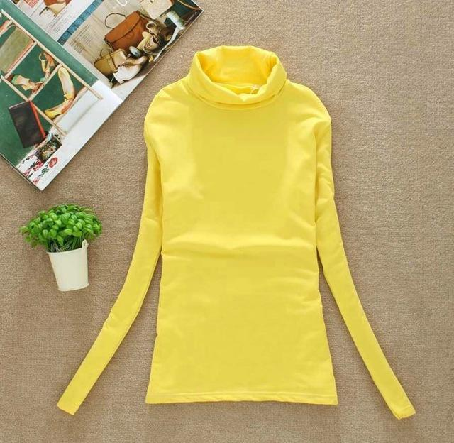 High Elastic Quality Autumn Winter Sweater Women Wool Turtleneck Pullovers Long-Sweaters-Fall In Love-W00869 yellow-EpicWorldStore.com