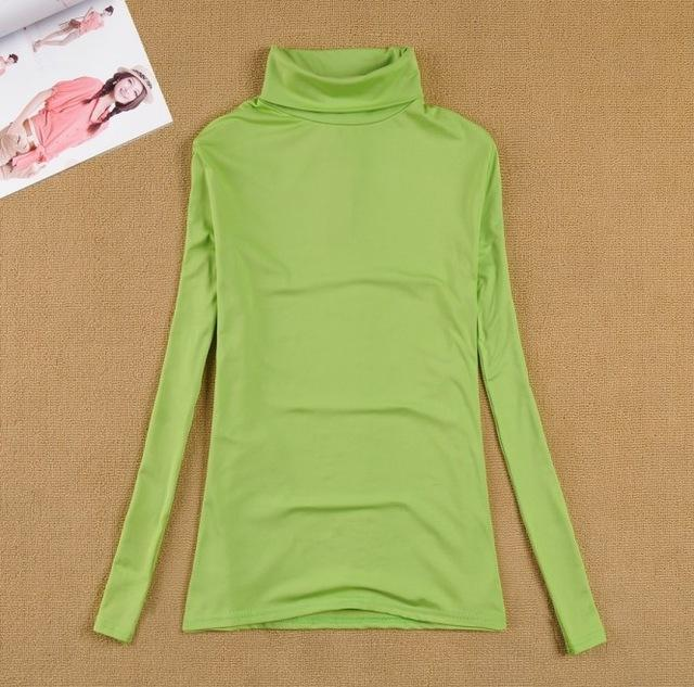 High Elastic Quality Autumn Winter Sweater Women Wool Turtleneck Pullovers Long-Sweaters-Fall In Love-W00869 ying guang lv-EpicWorldStore.com