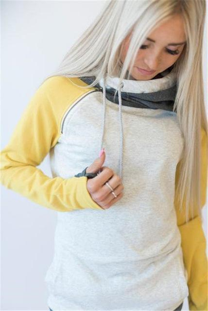High Quality 3Xl Autumn Winter Warm Hoodies Sweatshirts Women Pullover Hoodie Female Patchwork-Hoodies & Sweatshirts-Lispstudio Store-Yellow-S-EpicWorldStore.com