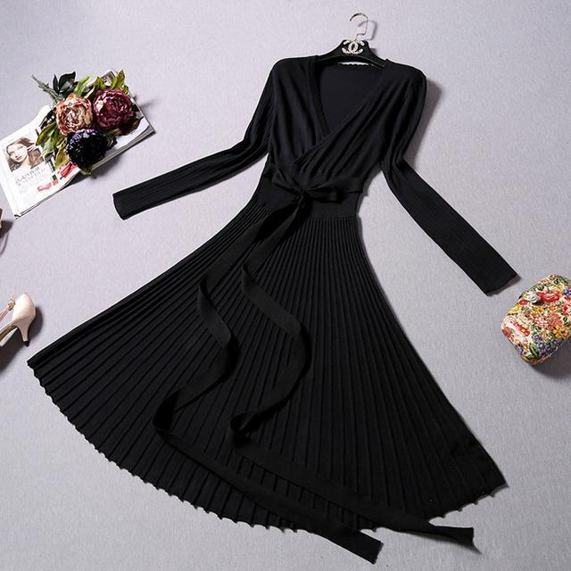 High Quality Elegant Winter Dress Office Dresses For Women Decorative Sashes V-Neck Solid-Dresses-Timed Apparel & Accessories factory-Black-EpicWorldStore.com