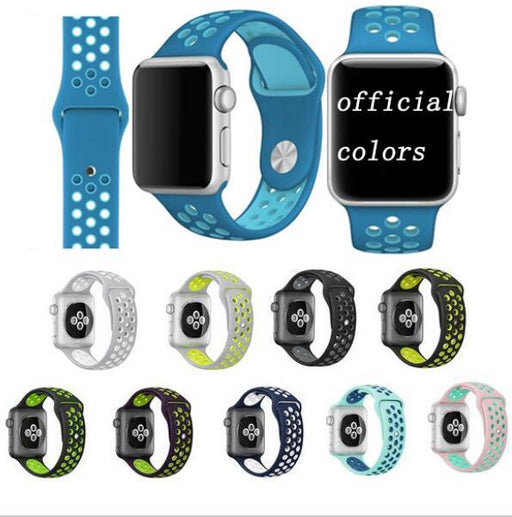 High Quality Series 1&2&3 Bracelet Strap For Iwatch For Apple Watch Band 42Mm 38Mm Sport Silicone-Watch Accessories-DALAN Store-black silver-S M 38mm-EpicWorldStore.com