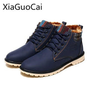 High Top Mens Boots Warm Waterproof Military Winter Boots For Men Leather-Men's Boots-XiaGuoCai ZGX Store-blue-6.5-EpicWorldStore.com