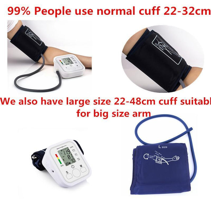 Home Health Care 1Pcs Digital Lcd Upper Arm Blood Pressure Monitor Heart Beat Meter Machine-Health Care-JZK Life House Store-Normal cuff 22to32cm-EpicWorldStore.com