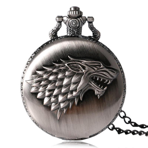 Hot Necklace Watches Gray Tone Honorable Stark House Wolf Quartz Pocket Watch Pendant Game Of-Pocket & Fob Watches-Watchonor Store-EpicWorldStore.com