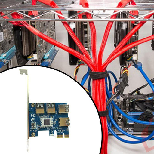 Hot Pci Express Riser Card Pci-E 1X To 16X 1 To 4 Pcie Usb 3.0 Slot Multiplier Hub Adapter For-Computer Components-Bitcon Miner Mining Store-EpicWorldStore.com