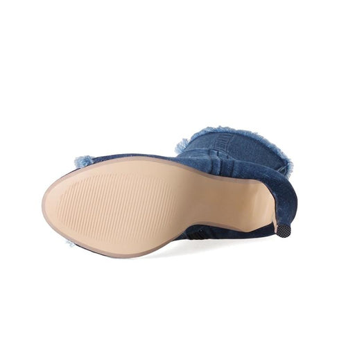 Hot Sale Blue Jeans Boots New Summer Shoes Ankle Boots For Women Boots Blue Denim Boots High Heels-Ankle Boots-A-BUYBEA Store-Blue-4-EpicWorldStore.com