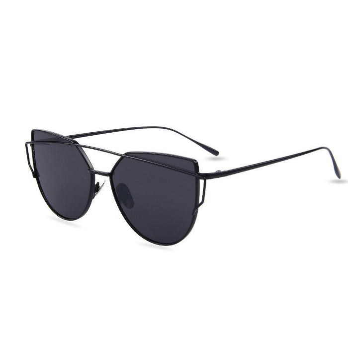 Hot Sale Mirror Flat Lense Women Cat Eye Sunglasses Classic Brand Designer Twin-Beams Rose Gold-Accessories-MERRY'S Glasses Store-Black Frame Gray-EpicWorldStore.com