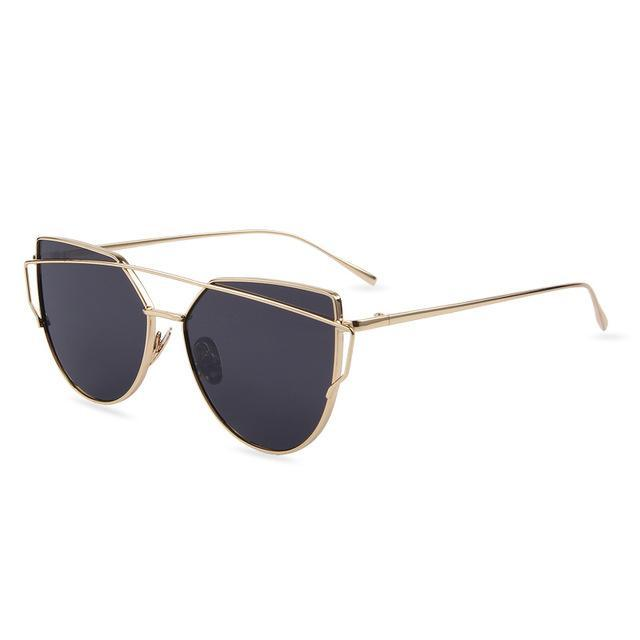 Hot Sale Mirror Flat Lense Women Cat Eye Sunglasses Classic Brand Designer Twin-Beams Rose Gold-Accessories-MERRY'S Glasses Store-Gold Frame Gray-EpicWorldStore.com