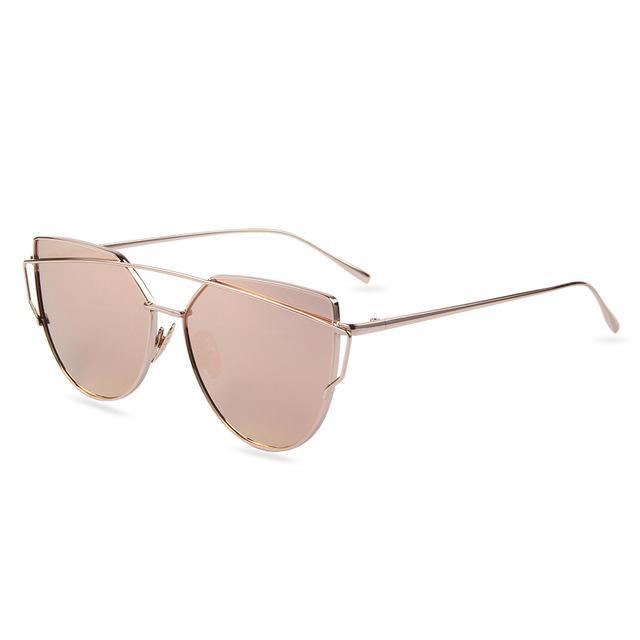 Hot Sale Mirror Flat Lense Women Cat Eye Sunglasses Classic Brand Designer Twin-Beams Rose Gold-Accessories-MERRY'S Glasses Store-Gold Frame Pink-EpicWorldStore.com