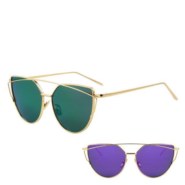 Hot Sale Mirror Flat Lense Women Cat Eye Sunglasses Classic Brand Designer Twin-Beams Rose Gold-Accessories-MERRY'S Glasses Store-Gold Frame Purple-EpicWorldStore.com