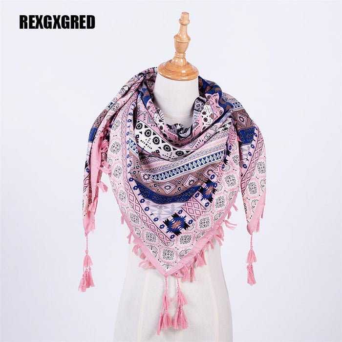 Hot Sale New Woman Scarf Square Scarves Tassel Printed Women Wraps Winter Autumn Ladies-Accessories-REXGXGRED WCX Store-pink-EpicWorldStore.com