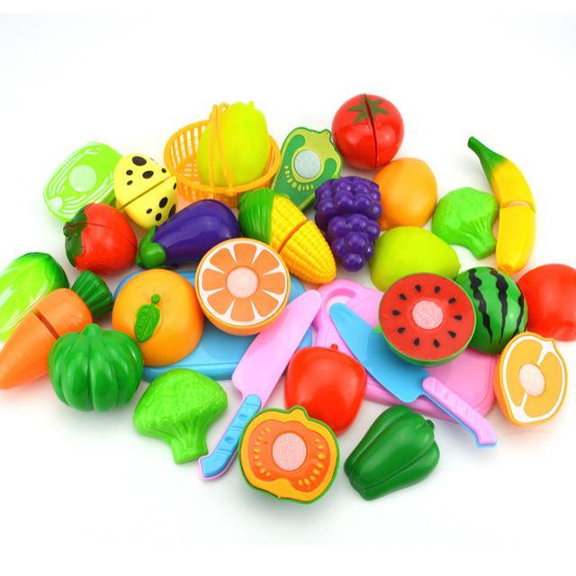 Hot Sale Set Plastic Kitchen Food Fruit Vegetable Cutting Toys Kids Baby Early Educational Toy
