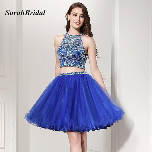 fed06ca7d Hot Sale Shining 2 Piece Homecoming Dresses Halter With Luxury Crystal  Beaded Puffy Stylish-Homecoming