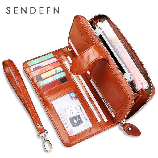 Hot Sale Wallet Brand Coin Purse Split Leather Women Wallet Purse Wallet Female Card Holder Long-Wallets-Sendefn Official Store-Black-EpicWorldStore.com