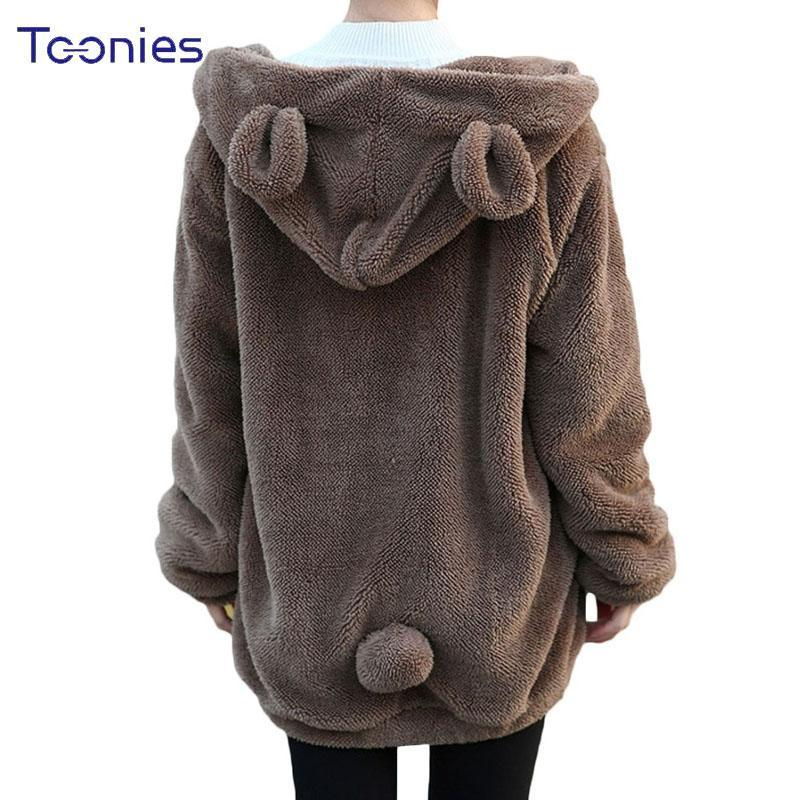 Hot Sale Women Hoodies Zipper Girl Winter Loose Fluffy Bear Ear Hoodie  Hooded Jacket Warm- 87fc3cf75