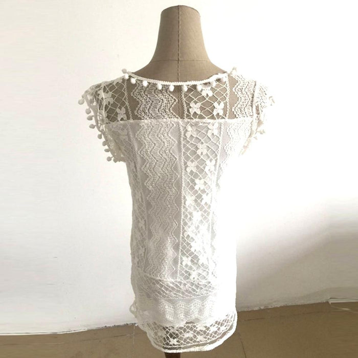 Hot Summer Beach Dress Sexy Women Casual Sleeveless Beach Short Dress Tassel  Solid White Mini Lace 1c9ce305f