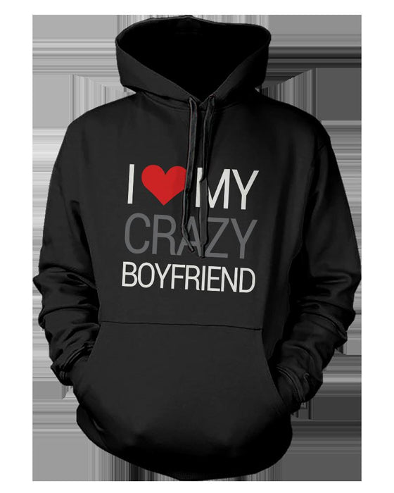 9ae4fd4f0f I Love My Crazy Boyfriend And Girlfriend Cute Matching Couple  Hoodies-Apparel & Accessories-