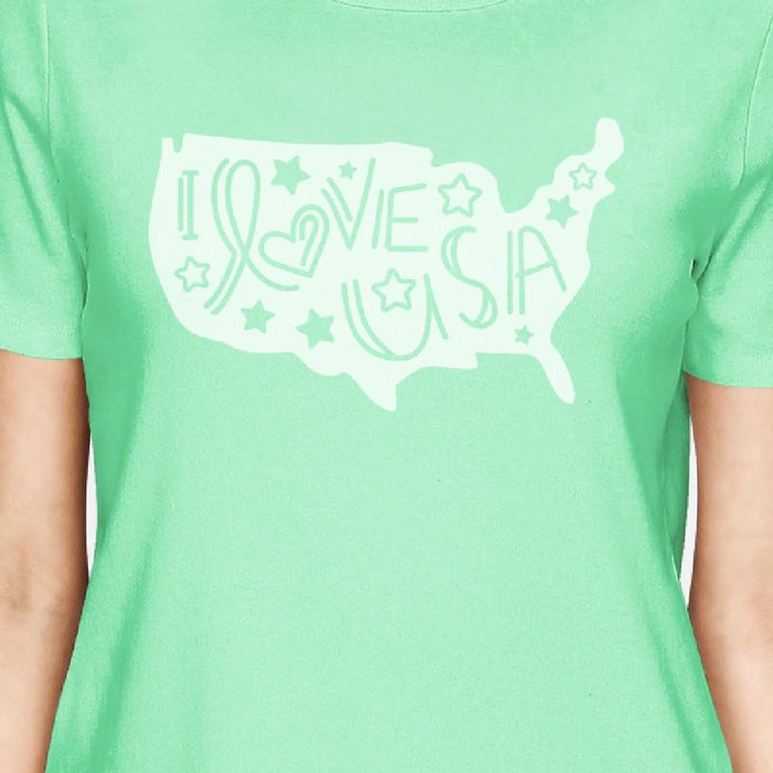 Cute Usa Map.I Love Usa Map Women Cotton T Shirt Cute Lettering Graphic T Shirt