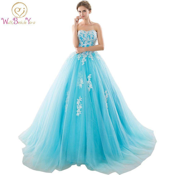 In Stock Sweetheart Blue Quinceanera Dresses Ball Gowns With ...