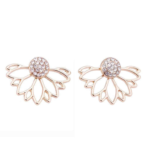 Iparam Lotus Crystal Jacket Flower Stud Earrings For Women Jewelry Double Sided Gold-Earrings-IPARAM Speciality Store-Gold-color-EpicWorldStore.com