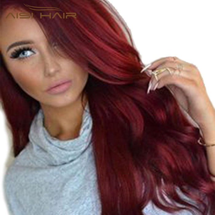 I S A Wig Synthetic Red Wigs Long Wavy Hair For Women Black Hairs