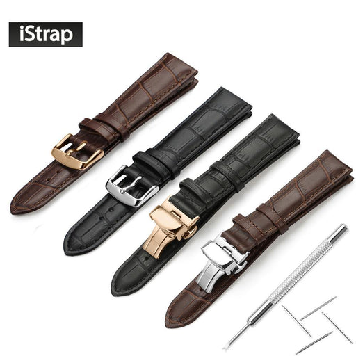 Istrap Watchband 18Mm 19Mm 20Mm 21Mm 22Mm 24Mm Soft Calf Genuine Leather Watch Strap Alligator Grain-Watch Accessories-iStrap Official Store-Black and Silver P-18mm-EpicWorldStore.com