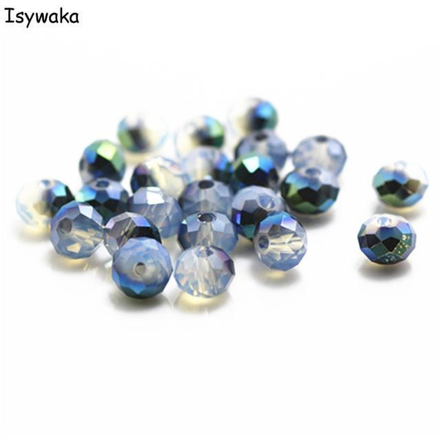 Isywaka Full Clear Lake Blue Color 4*6mm 50pcs Rondelle Austria Faceted Crystal Glass Bead Loose Spacer Bead For Jewelry Making Jewelry & Accessories Beads