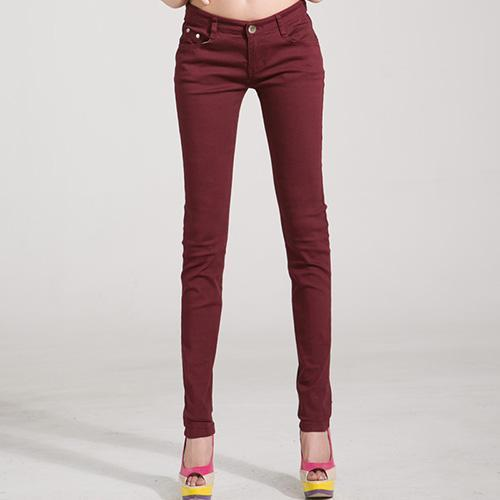 Jeans Female Denim Pants Candy Color Womens Jeans Donna Stretch Bottoms Feminino Skinny Pants For-Bottoms-Tataria Speciallity Store-Wine red-25-EpicWorldStore.com