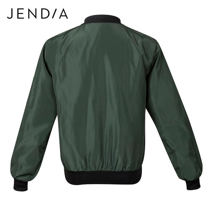 Jendia Women Casual Bomber Jacket Coat Autumn Winter Windbreaker Tops Long Sleeve Stand-Jackets & Coats-Jendia Speciality Store-Black-S-EpicWorldStore.com