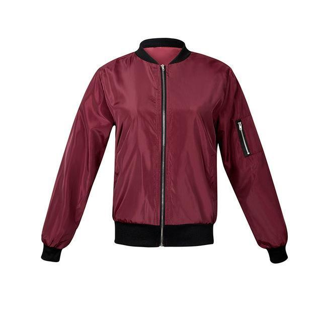 Jendia Women Casual Bomber Jacket Coat Autumn Winter Windbreaker Tops Long Sleeve Stand-Jackets & Coats-Jendia Speciality Store-Red-S-EpicWorldStore.com
