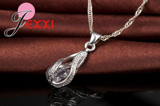 Jexxi New Water Drop Cz Jewelry Sets 925 Sterling Silver Necklace&Earrings Wedding Jewelry-Jewelry Sets & More-JEXXI 925 Store-EpicWorldStore.com