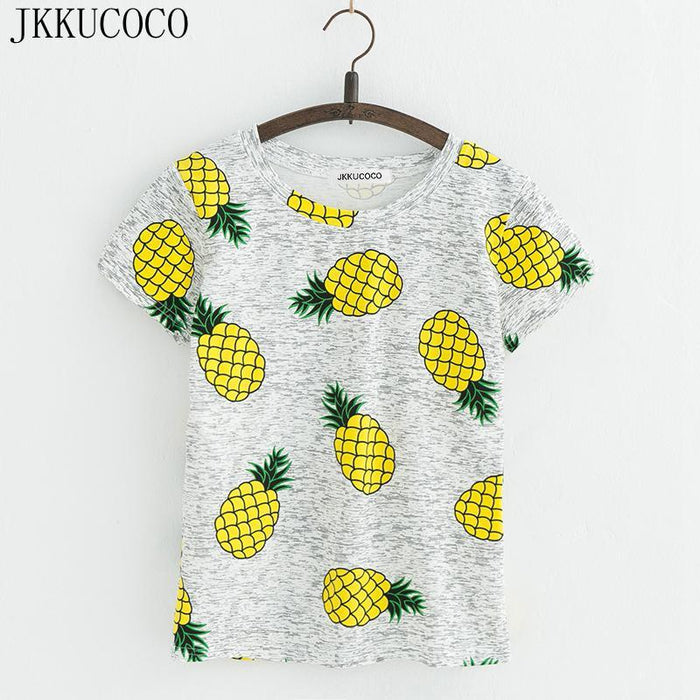 Jkkucoco Hot Style Pineapple Print Tees Short Sleeve T-Shirt Women T Shirt Summer Cotton T-Shirt-Tops & Tees-JKKUCOCO Official Store-01-XS-EpicWorldStore.com