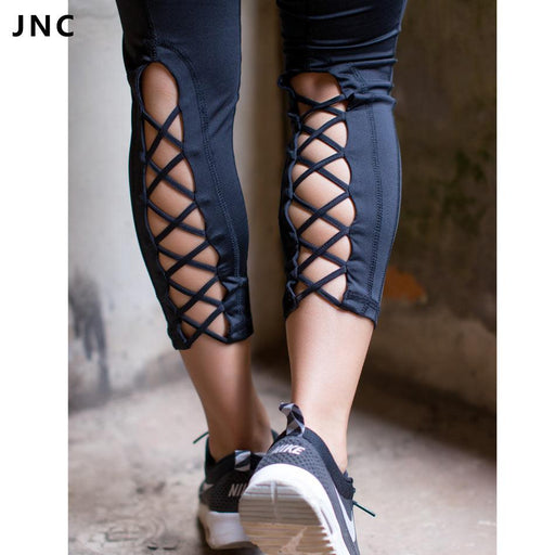 Jnc Womens Yoga Pants Active Running Workout Fitness Leggings Dance Pants Cutout Tie Cuff Slim-JNC Fitness Store-Black-S-EpicWorldStore.com