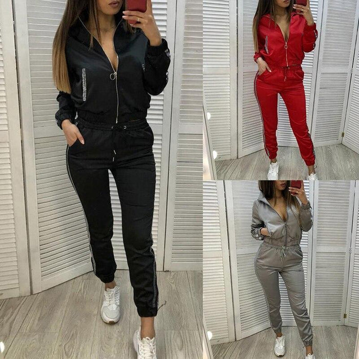 Women Casual Tracksuit Hoodie Sweatshirt Sweater Pants Sports Jogger Outfits Set Black, S