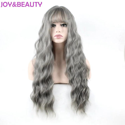 Joy&Beauty Ultra-Thin Bangs Long Curly Wig Synthetic Wigs Gray Black Pink 26Inch High Temperature-JOY&BEAUTYWIGS Store-Natural Black-EpicWorldStore.com