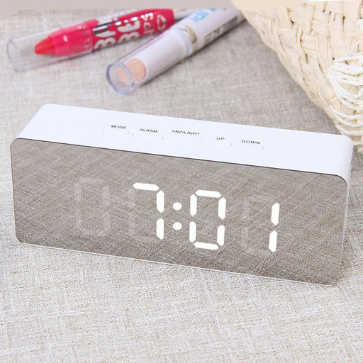 July'S Song Digital Mirror Led Alarm Clock Night Lights Thermometer Wall Clock Lamp Square Rectangle-Alarm Clocks-JULY'S SONG Store-Square-white-EpicWorldStore.com