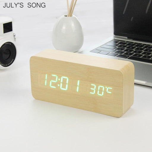 July'S Song Led Clock Wooden Digital Alarm Clock Night Light Led Display Temperature Table Clockes-Alarm Clocks-JULY'S SONG Store-beige blue-EpicWorldStore.com