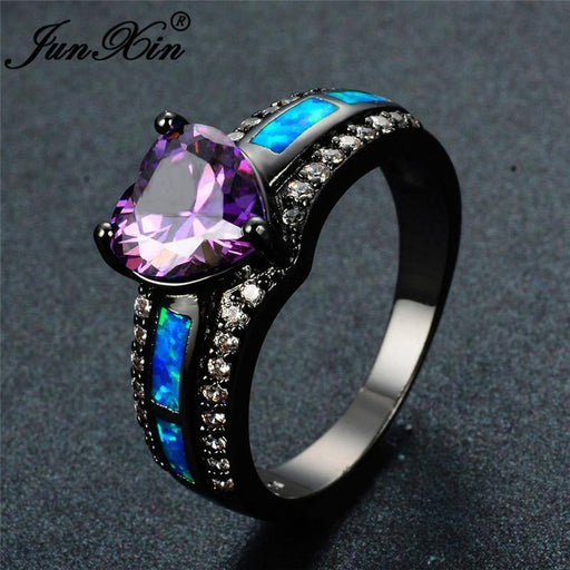 Junxin Charm Multicolor Heart Zircon Blue/White/Pink Fire Opal Rings For Women Vintage Black-Rings-JUNXIN Official Store-5-White Opal Multicolo-EpicWorldStore.com