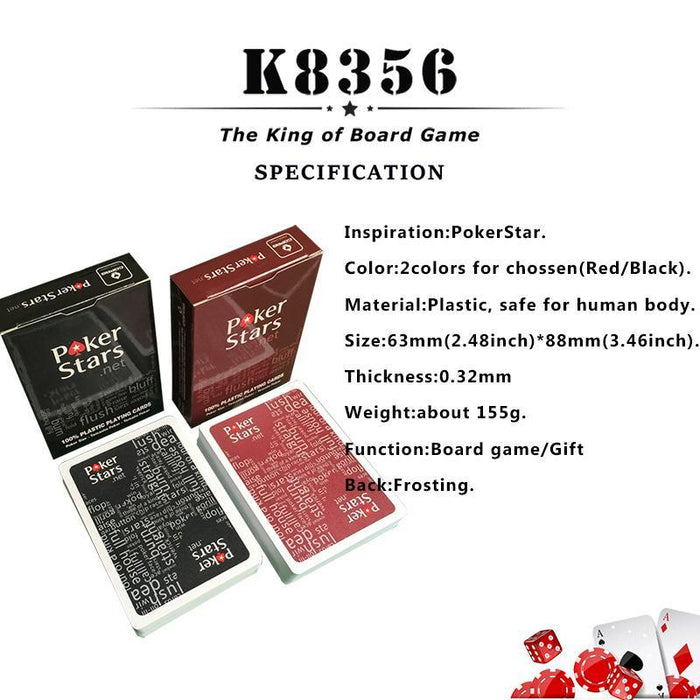 K8356 New Baccarat Texas Hold'Em Plastic Pvc Playing Cards Waterproof Frosting Poker Cards Pokerstar-Entertainment-K8356 Board Games Club Factory Store-1Black-EpicWorldStore.com