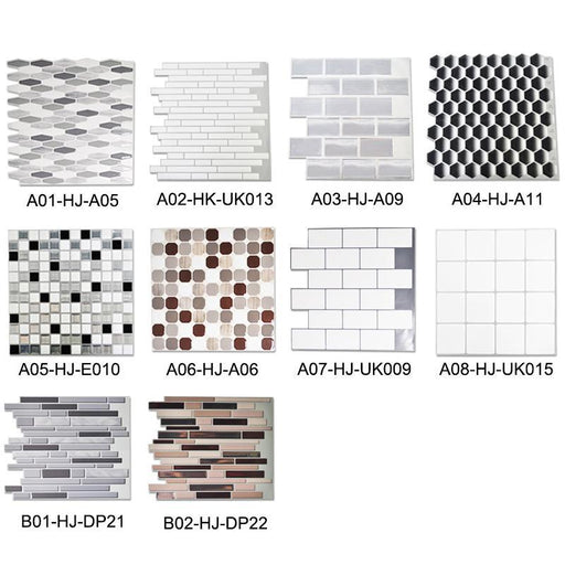 Kaguyahime Self Adhesive Mosaic Tiles 3D Waterproof Diy Wall Stickers European Style Wallpaper Brick-Wallpapers-Kaguyahime Lighting Store-A01-HJ-A05-30 X 30cm-EpicWorldStore.com