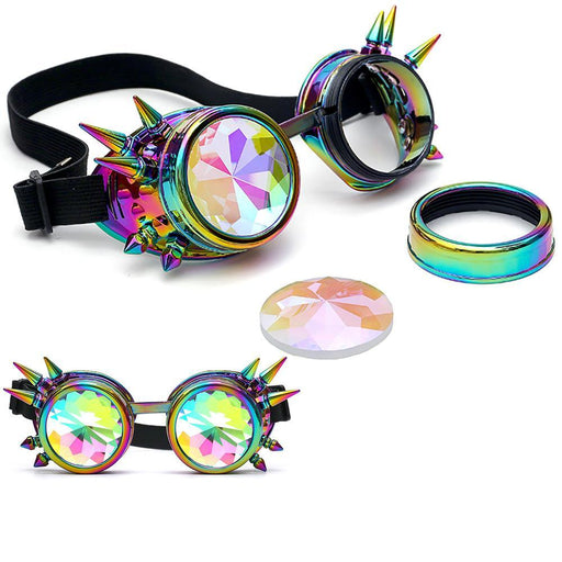 Kaleidoscope Colorful Glasses Rave Festival Party Edm Sunglasses Diffracted Lens Steampunk #G-MUQGEW Clothes Store-Gold-EpicWorldStore.com