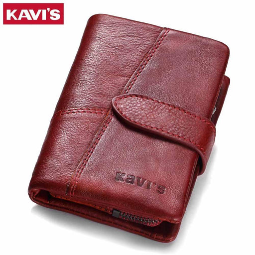Kavis Genuine Leather Women Wallet And Purses Coin Purse Female Small Portomonee Rfid Walet-Wallets-KAVIS Official Store-Coffee M-EpicWorldStore.com