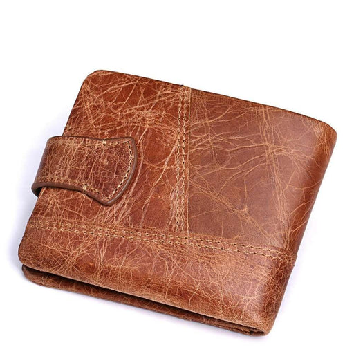 Kavis New 100% Genuine Leather Men Wallets Man Famous Small Short Portomonee With Coin Zipper Mini-KAVIS Official Store-Coffee M-EpicWorldStore.com