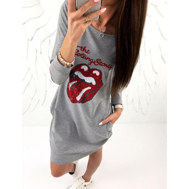 Kawaii Letter Lips Printed Dress Women Autumn Casual Dress Long Sleeve Vestido De Festa-Hoodies & Sweatshirts-ZAngel Boutique Store-Gray-S-EpicWorldStore.com